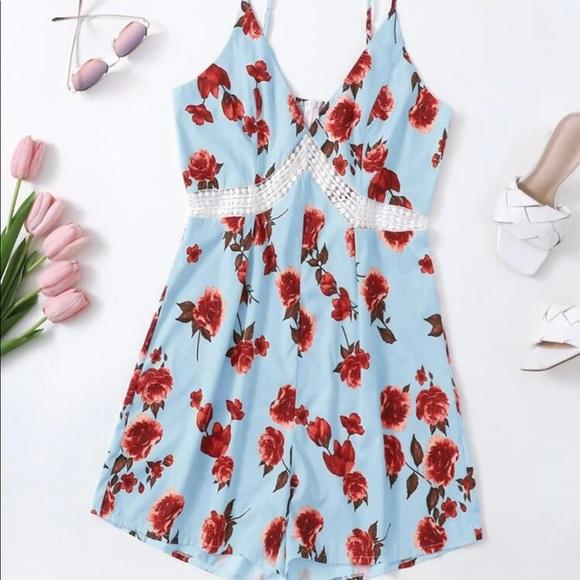 Sky ☁️ Blue w/red floral pattern romper dress